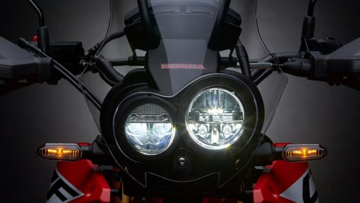 CRF250 Rally motorcycle, front view