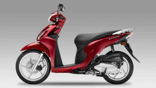 Honda Vision 110 Scooter - Red colour, side view, Chelsea